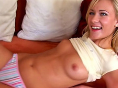 Blonde small hotty cutie sucking and fucking a monumental cock