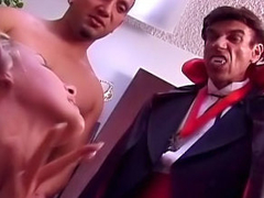 Lovable hot well done babe sucking many cocks and taking cumshot