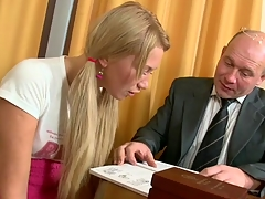 Horny older teacher is seducing hottie's lusty beaver