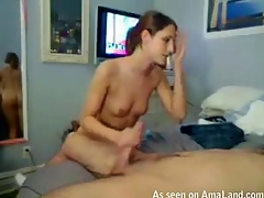 Girlie is performing worthy fellatio after being fucked well