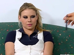 Kinky tutor makes a schoolgirl engulf and ride his dick