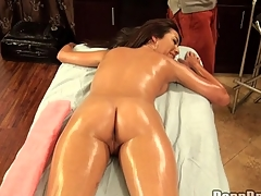 Stud is having a hard duration with his boner during rub-down