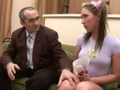 Horny old teacher gives young sweetheart a vigorous drilling