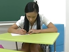 Big titty teen with a short petticoat is fucked in her classroom