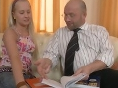 Bad hottie gets ejaculation in her gazoo from horny teacher