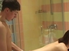 Horny in force age teenager harlot endures doggy-style fucking by the to bath