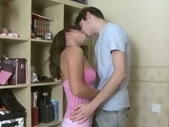 Brunette in a closet group-fucked hard