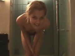 Naked and sexy fair-haired teen is taking shower kick eradicate affect scuttle work